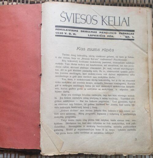 """""""Šviesos keliai"""", 1930, NR.1-12"""