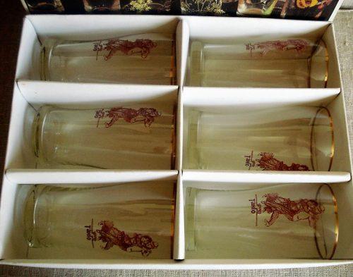 stiklinių rinkinys dėžutėje