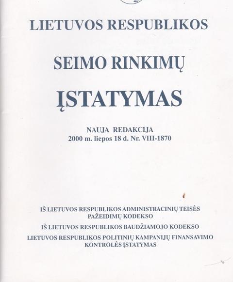 LR Seimo rinkimų įstatymas