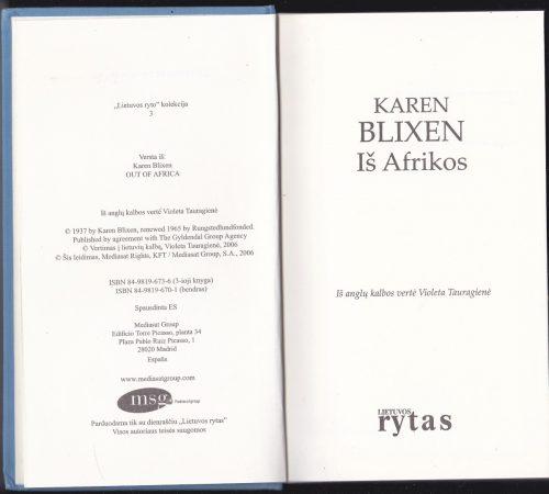 Blixen Karen. Iš Afrikos