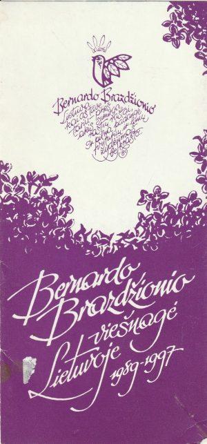 """Lankstinukas """"Bernardo Brazdžionio viešnagė Lietuvoje 1989 -1997"""""""