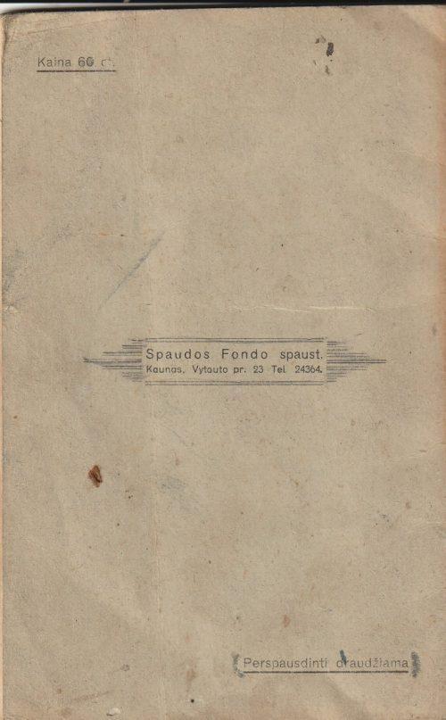 Pažymių knygelė 1940/41 mokslo metų