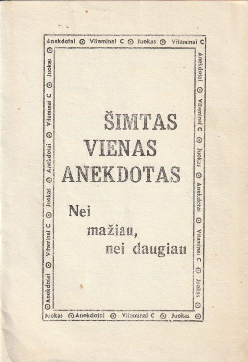 Salys Antanas. Šimtas vienas anekdotas